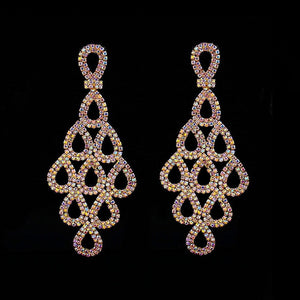Shevalues AB Rhinestone Earrings For Women Long Drop Earrings Female Elegant