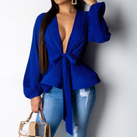 Lantern Sleeve Blouse Shirt Women 2019 Fashion Summer Sashes Wrap V-neck Office Shirt Elegant Ladies Tops Female Clothing