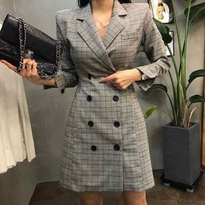 2019 New Euro Fashion Women Plaid Party Dress Elegant Suit Casual Long Sleeve Work