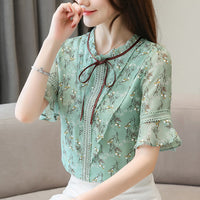 Summer blouse for women 2019 plus size women tops print chiffon blouse women short sleeve shirts womens tops and blouses 4564 50