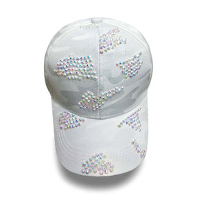 Rhinestone baseball cap bVintage Luxury  Woman Cowboy Baseball Cap Flower Pattern Gorras Female High Quality Glass Diamond Hat
