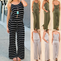 Womail bodysuit Women Summer Fashion Boho Ladies Stripe Sleeveless Long Playsuits Rompers Jumpsuit Casual