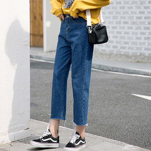 Tataria Boyfriend Jeans for Women High Waist Casual Loose Denim Harem Pants Female Ankle-length Jeans Pants Women Wide Leg Pants