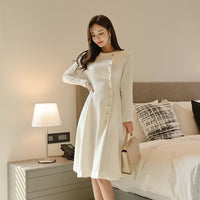 Elegant Dress Women Casual Long Sleeve Dress Office Lady Runway Designers High Fashion Dress