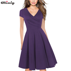 Women Solid Red Army Green Purple Gray Vintage Ruffle Summer Tunic Pinup Work Office Casual Party A Line Skater Blue Black Dress