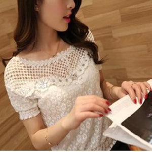 Summer Casual Hollow Out Floral Lace Women's Shirt Beading Short Sleeve Tops And Blouses O-Neck Blouse Shirt For Girls