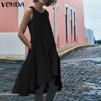 Summer Dress 2019 VONDA Women Sundress Sexy Sleeveless Irregular Ruffle Hem Vest Dresses Beach Long Top Plus Size Casual Vestido