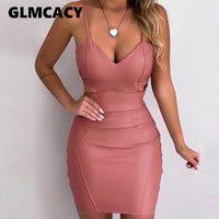 Women PU Leather Spaghrtti Strap Backless Bodycon Dress Female Sexy Low Cut V Neck Sleeveless Solid Cocktail Mini Party Dress