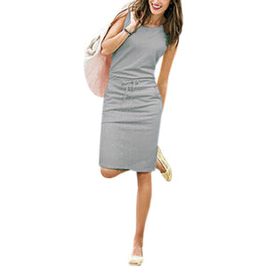 Summer Casual Dress Women Sleeveless Cotton Slim Pencil Dresses  Sexy Work Office Dress Slim Fit  Robe Mujer Pockets J2218