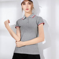 High quality 2019 New summer womens short sleeve polos shirts casual womens lapel cotton polos shirts fashion slim womens tops