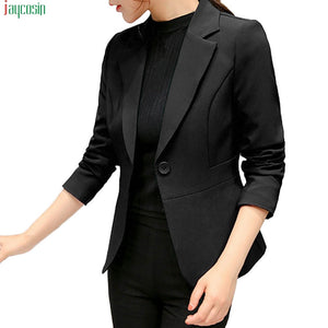 blazer Women Solid Long Sleeve Suit Office blazer Work Cardigan
