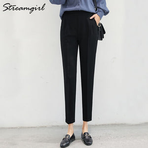 Women Harem Pants Summer Elastic Waist Plus Size Office Chiffon Capri Pencil Black Work Pants For Women High Waist Trousers Thin