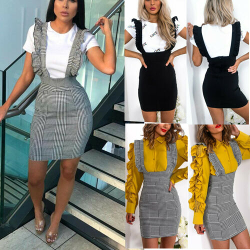 2019 Womens Ladies Check Dog Tooth Frill Ruffle Pinafore Bodycon Party Skirt Dress Top