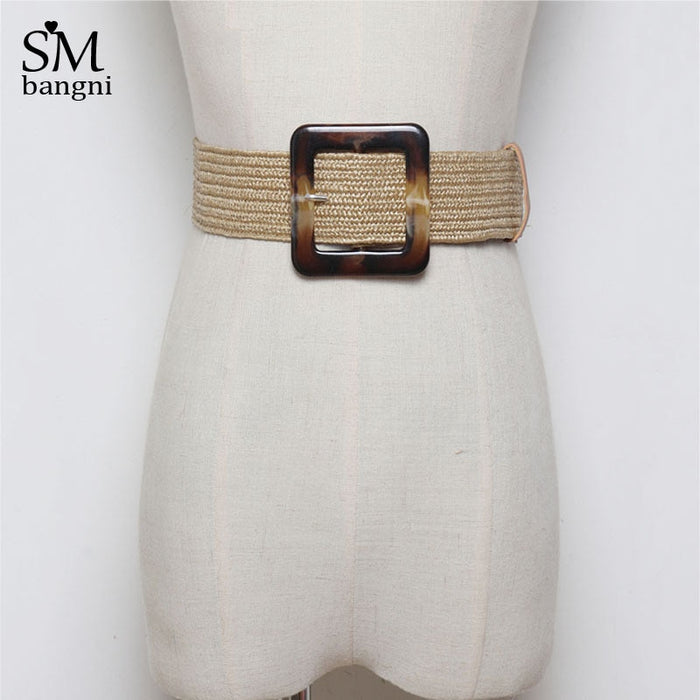 Vintage Smooth Round Buckle Elastic Knitted Belt High Quality Handmade Braided Straw Waist Belt For Women Dresses Accessories