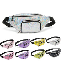 fashion fanny pack 2019 New wholesale laser belt bag holographic waist bag pink pu Silver hip bag Chest Phone Pouch sac banane