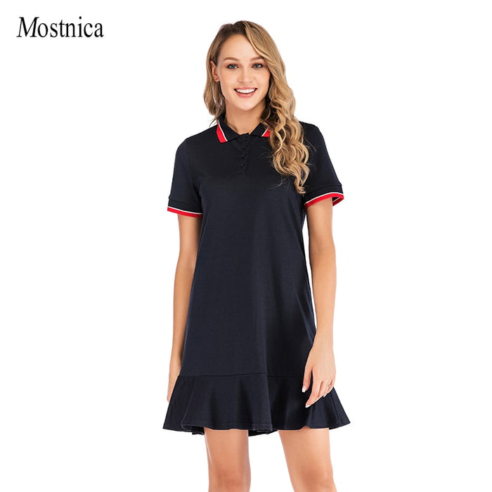 Mostnica Pleated Women Student Sport Dress Shirt Turn Down Collar Polo Short Sleeves Preppy Style Sport Tennis Dresses for Lady