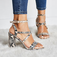 Women Summer Sandals Open Toe Snake PU Leather Shoes Woman Zapatos Mujer