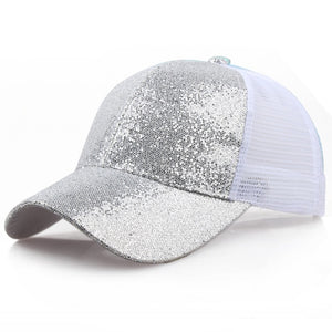 2019 Women Girl Ponytail Hat Baseball Cap New Fashion Baseball Sequins Shiny Messy Bun Snapback Sun Caps бейсболка