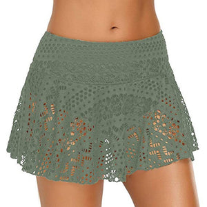 bikini bottom brazilian swimwear women Lace Crochet Skirted Bikini Bottom Swimsuit Short Skort Swim Skirt #XTN
