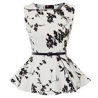 printing shirt Women summer retro elegant Floral pattern Sleeveless Scoop Neck Belt Decor Peplum Hem Tops party casual blouse