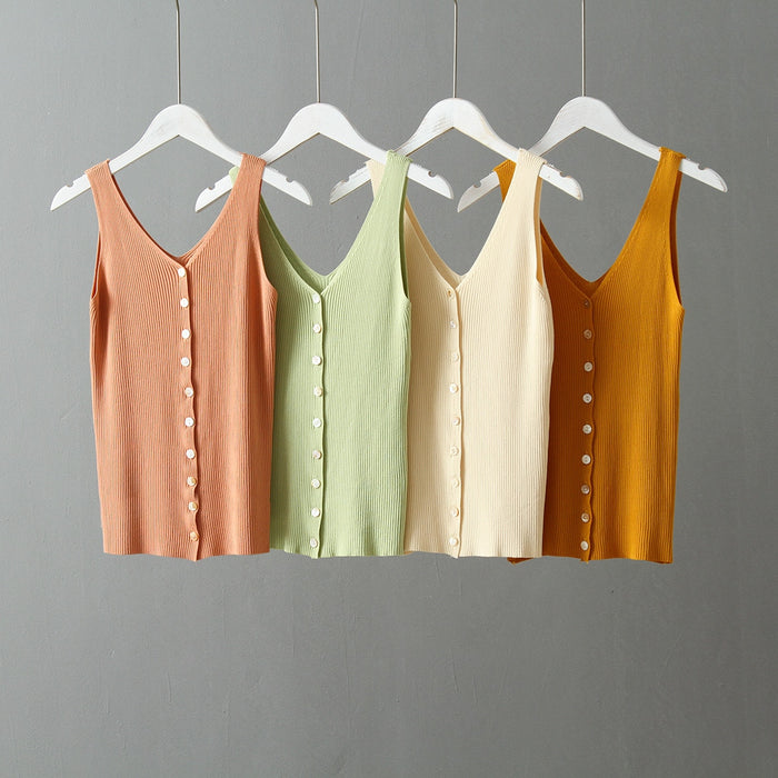 2019 Summer Sleeveless Orange Tanks Korean Slim T-Shirts Tess Women Single