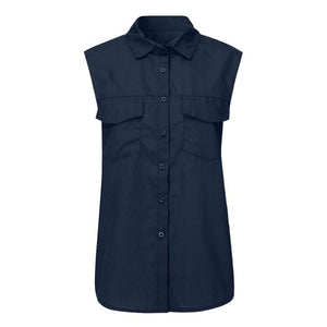 Plus Size S-5XL Women Casual Solid Sleeveless Shirt Turn Down Collar With Pockets