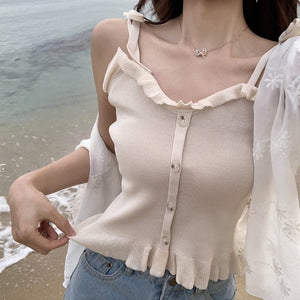 Women Knitting Ruffles Buttons Cropped Tanks Tops Girls Knitted Slim Stretchy