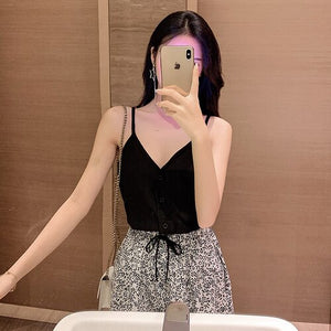 Sexy Women V-Neck Vest Solid Tops Summer New Backless Sleeveless Tank