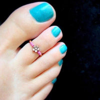 Bohemian Color Beads Toe Rings For Women Vintage Alloy Adjustable Flower Foot Rings Fashion Summer Beach Jewelry Accessories
