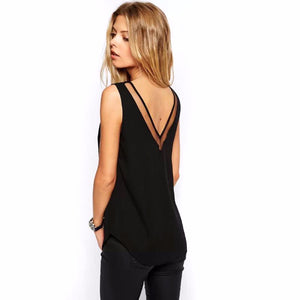 womens tops fashion 2017 summer chiffon Casual  Sleeveless Deep V Neck Chiffon Blouse Ladies Tops black and white