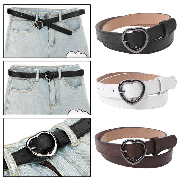Hot New Lady Girls Waist Belt Heart Shaped Buckle Faux Leather Women Thin Skinny Fashion Waistband 3 Colors High Quality