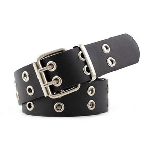 OLOME Vintage Women Punk Chain Belt Black Double Single Eyelet Grommet