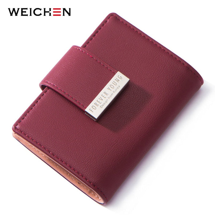 WEICHEN 20 Slots Women Card Holders Brand Designer Ladies Credit Card Wallet Female Fashion Leather Business Card Cover Case NEW