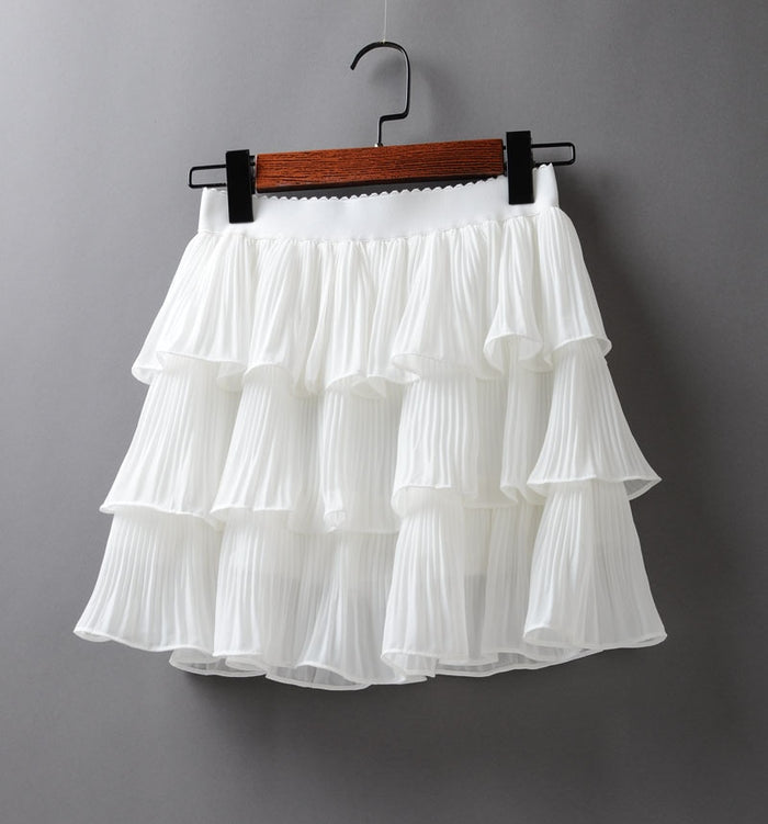 2019 Summer Women Elasticity Waist Mini Skirt Ladies Chiffon Skirt Ladies Casual Cake Skirts Black White Femme Pleated Skirts