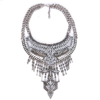 Vintage Silver Maxi Choker Necklace Pendant Women Boho Statement