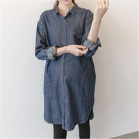 Spring Autumn Maternity Shirts Casual Long Sleeves Denim Tops for Pregnant