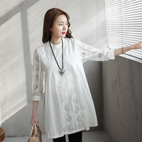 Elegant Lace White Shirts Pregnant Women Tops Solid Hollow Out Maternity Blouses