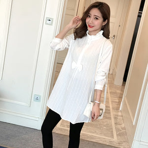 936# White Striped Cotton Maternity Shirts 2019 Spring Autumn Fashion Clothes