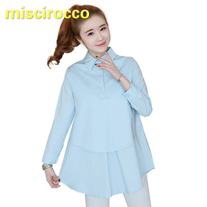 Maternity Shirt Cotton Pregnant Women's Shirt Long Sleeve Office Clothes Women