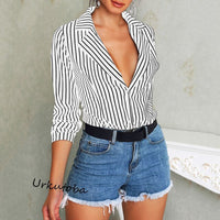Womens Fashion V Neck Tops and Blouses Elegant Long Sleeve Ladies Classic Striped vintage Shirt OL blusas femininas elegante
