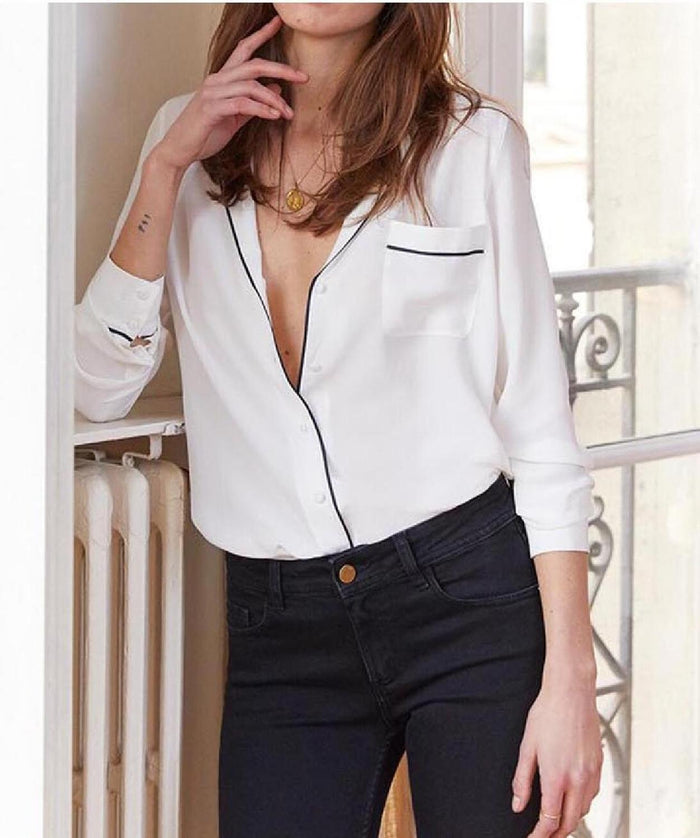 French niche lazy van classic pajamas wind soft sand washed silk long-sleeved shirt