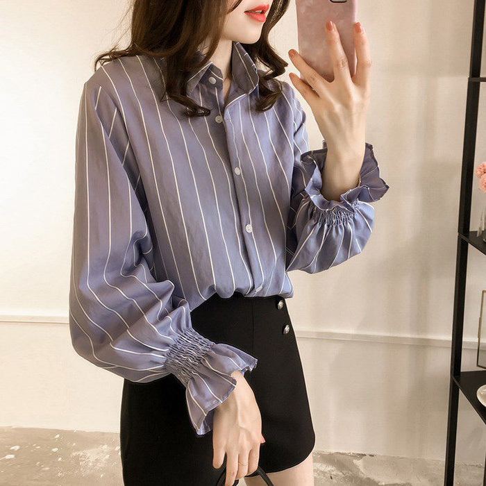 Female Loose Flare Sleeve Blouse Vintage Shirts Women Striped Turn-down Collar Shirts Autumn Summer Casual Ladies Classic Style
