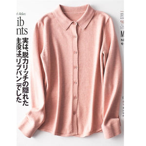 Spring Classic Knitted Shirt Women's Fashion Basic Shirt Colloar Cardigan Stretch Yarn