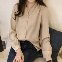 Sleeve Blouses Fashion V Neck Imitation Satin Solid Classic Retro Tops Shirts