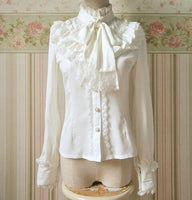 Classic Flare Long Sleeve Chiffon Girl's Lolita Ruffled Shirt with Neck Bow  Three