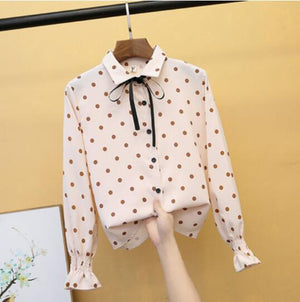 New Women Shirt Classic Corduroy Blouse Female Plus Size Loose Bell sleeve Dot