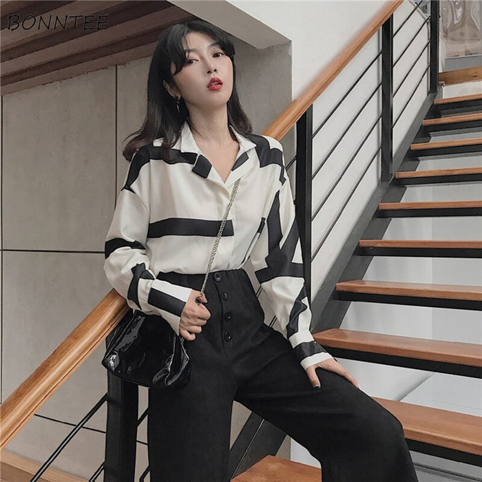 Shirts Women 2019 Retro Classic Elegant Leisure Striped Printed Notched Collar