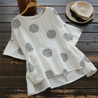 Women's Vintage Short Sleeve O Neck Cotton Linen Loose Tunic Shirt Top Blouse New Summer Loose Shirts Tops
