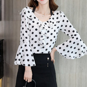 Polka Dot Print Classic Shirts Office Lady Shirt Women Chiffon Blouse 2019 Spring Petal Sleeve Ruffles V Neck Halter Ladies Tops