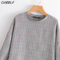 women Classic plaid blouse shirts casual long sleeve ladies tops S1334
